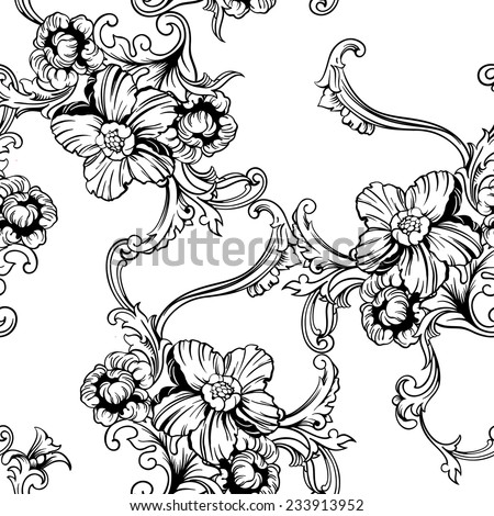 Seamless vector background. Baroque pattern. Design element - stock vector