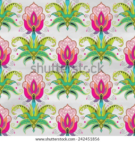 Seamless vector background. Beautiful oriental fantastic floral pattern. Watercolor hand drawing. - stock vector