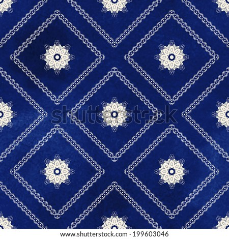 Seamless vector background. Beautiful round and square patterns. Imitation of chinese porcelain painting. Blue watercolor background. Hand drawing. - stock vector