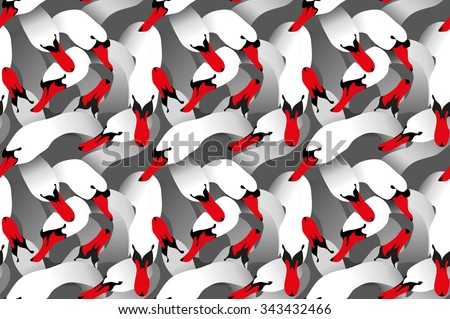 Seamless vector background bright flat stylized swans, a group of graceful white swan birds hugging by neck, in texture, textile, prints design for love, wedding.