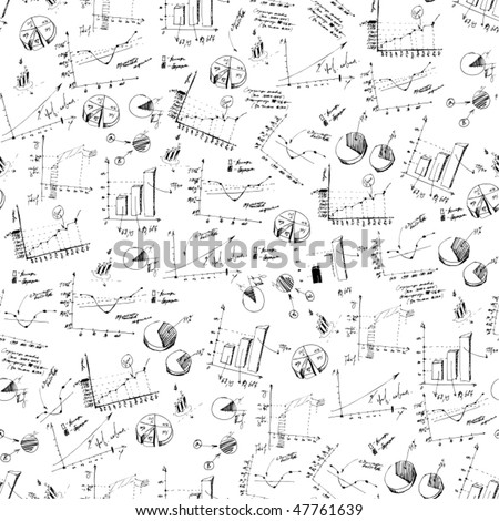Seamless vector background. Business and finance charts on white background. - stock vector