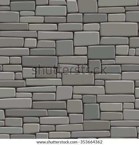 Seamless vector background of rectangular stones wall building with different sized bricks (in grey tone). - stock vector