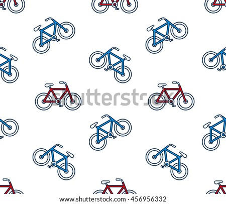 Seamless vector background pattern of red and blue bicycles scattered on a white background in square format for print or textiles - stock vector