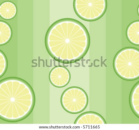 Seamless vector background pattern with lime slices on pale green - stock vector