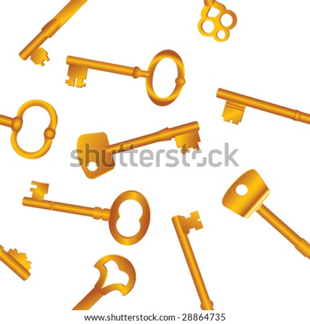 Seamless vector background. Scattered assorted gold keys on white. - stock vector
