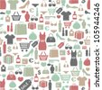 seamless vector background with colorful shopping icons - stock