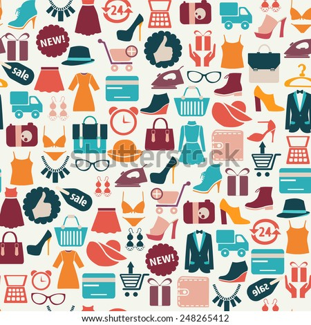 seamless vector background with colorful shopping icons  - stock vector