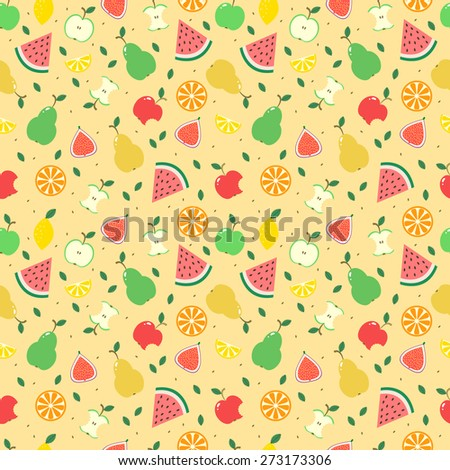 Seamless vector background with different fruits - stock vector