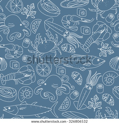 Seamless vector background with different marine animals and fishes. Great for restaurant menu backdrop or to the surface of the site and others.