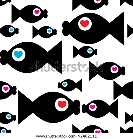 Seamless vector background with fish - stock vector