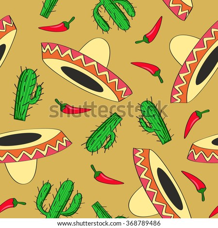 seamless vector background with Mexican symbols sombrero hat, cactuses and chili pepper - stock vector