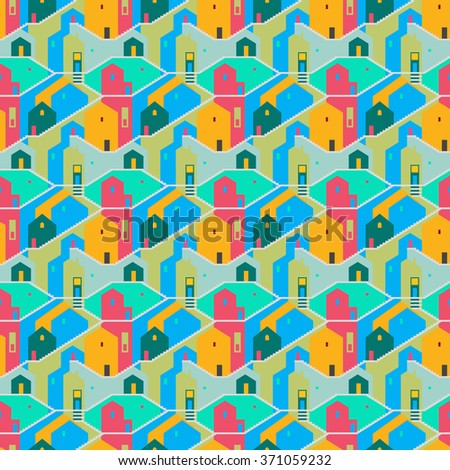 Seamless vector background with multicolored houses, windows and stairs. Abstract urban background. City seamless pattern. Flat style. Good for wallpapers, web page, surface textures, wrapping paper - stock vector