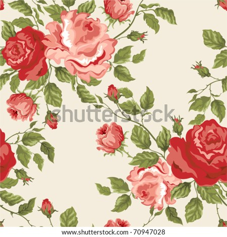 Seamless vector background with roses - stock vector