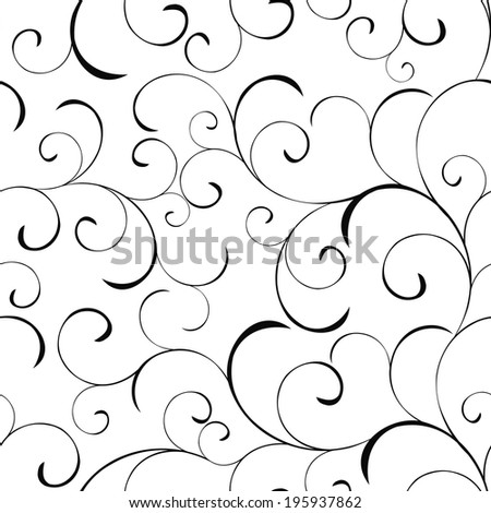 Seamless vector background with swirls - stock vector