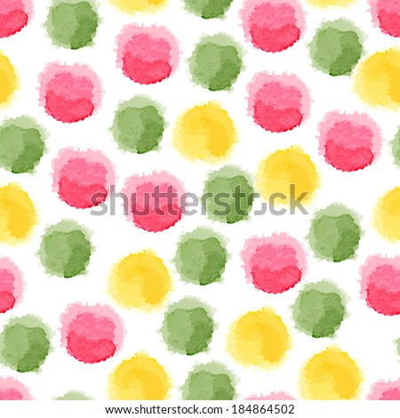 Seamless vector background with watercolor dots - stock vector