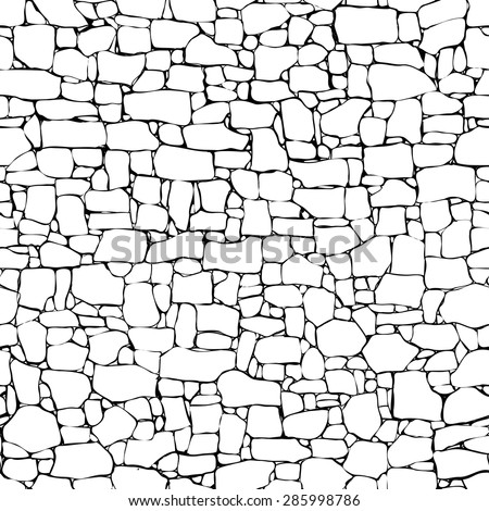 Seamless vector black and white background of stone wall ancient building with different sized bricks (drawn by ink). - stock vector