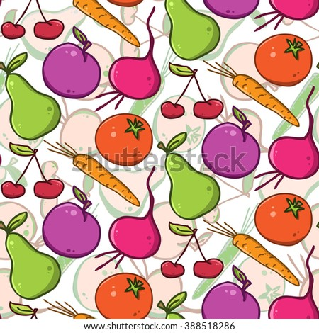 seamless vector bright background. colorful  fruits and vegetables - stock vector