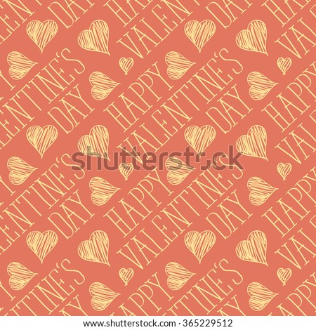 seamless vector card with heart and happy valentines day words - stock vector