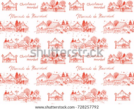 Seamless vector christmas pattern with christmas markets