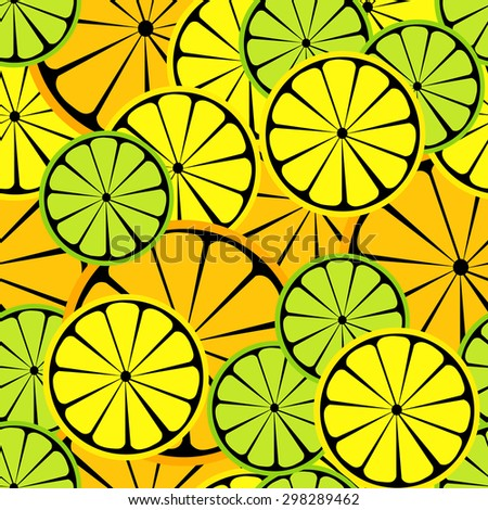 Seamless vector citrus pattern. Fruit background. Summer bright background with lemon and orange.