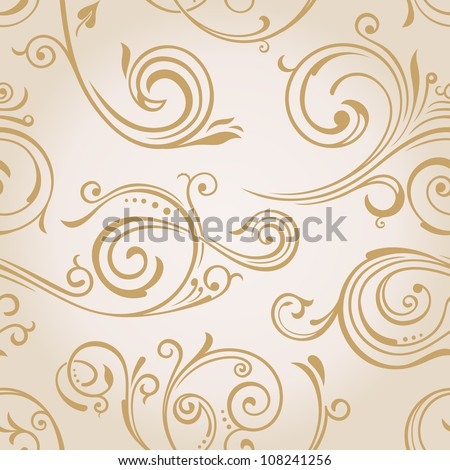 Seamless vector curves wallpaper. Vintage background pattern - stock vector