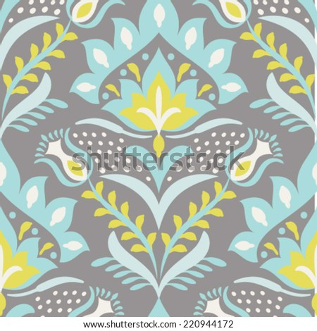 Seamless vector damask pattern. Classic floral background - stock vector