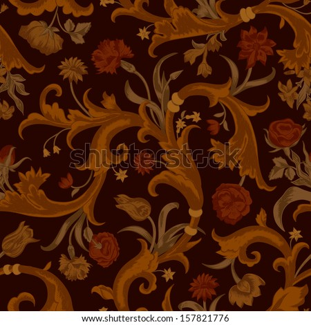 Seamless vector dark vintage floral pattern in baroque style. Swirls and roses, carnations, tulips. In brown tones. - stock vector