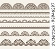 Seamless vector delicate lace ribbon set Borders set - stock vector