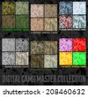 Seamless vector digital Pixel Camouflage collection - Urban, Desert, Jungle, Snow camo set  - stock vector