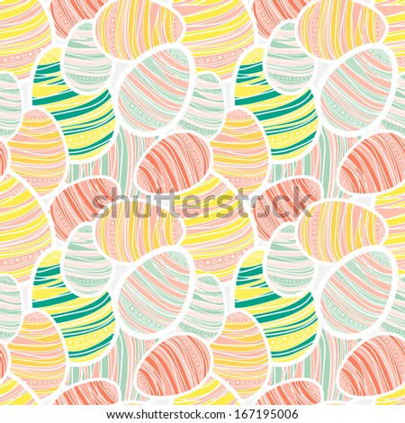 Seamless vector easter pattern with decorated egg stickers