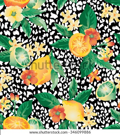 Seamless vector elegant floral pattern with blooming lemons and limes on a  background with leopard skin imitation. - stock vector