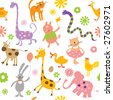 Seamless vector elements of children's drawings - stock vector