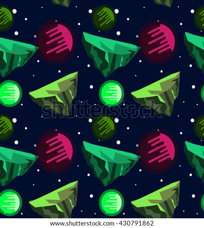 Seamless vector flat space pattern with comets ,asteroids, stars for wrapping paper, website background - stock vector