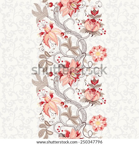 Seamless vector floral background. Beautiful border with tree branches and fantastic flowers. The motives of the paintings of ancient Indian fabrics. Tree of Life collection. - stock vector