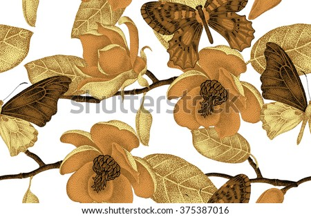 Seamless vector floral background. Illustration of magnolia flowers and butterflies in Victorian style pattern. Luxury vintage design. A series of natural motifs with gold foil. Black and white. - stock vector