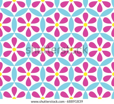 Seamless vector floral background with flowers over white - stock vector