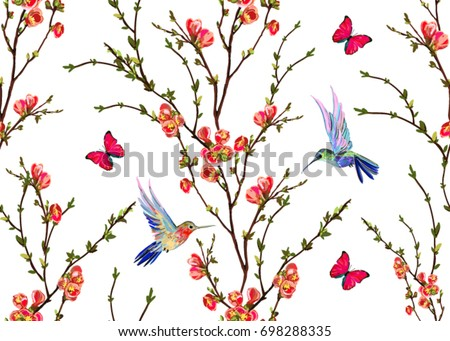 Seamless Vector Floral Pattern Background With Hand Drawn Hummingbirds Tropical Japanese Flowers Butterflies
