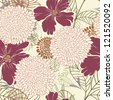 Seamless vector floral pattern. For easy making seamless pattern just drag all group into swatches bar, and use it for filling any contours. - stock photo