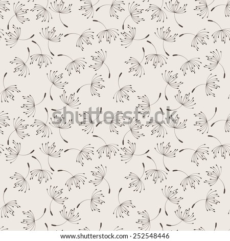 Seamless vector floral pattern of flying dandelion seeds in the wind - stock vector