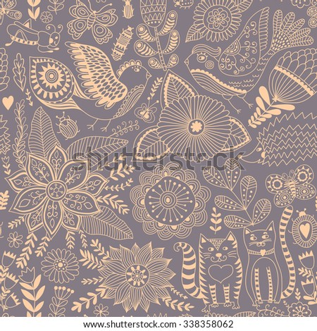 Seamless vector floral pattern, spring/summer backdrop. Bright colorful childish style animals and flowers. Romantic elements for wedding invitations, Valentine's day greetings