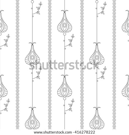 Seamless vector floral  pattern. Symmetrical repeating background with decorative ornamental flowers and leaves on the white backdrop. Repeating ornament. Series of Line Work Seamless Patterns.  - stock vector