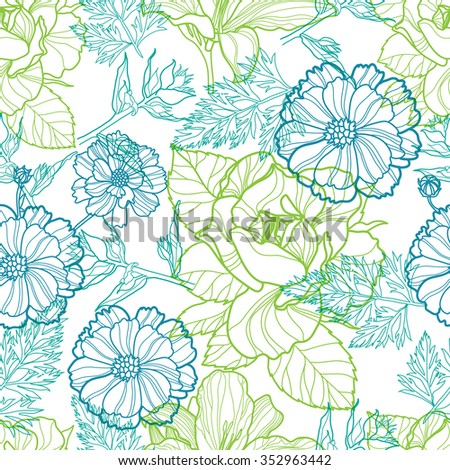Seamless vector floral pattern with colorful flowers - stock vector