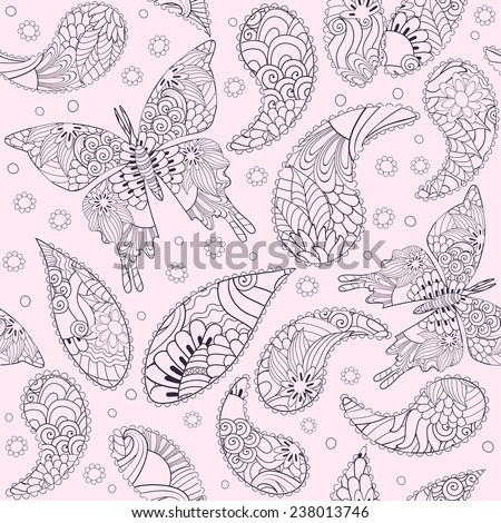 Seamless vector floral pattern with fantasy butterflies and elements, pattern can be used for wallpaper, pattern fills, web page background, surface textures