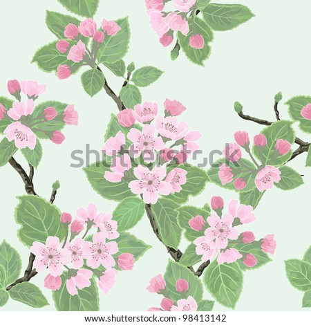 Seamless vector floral pattern with flowering apple tree - stock vector