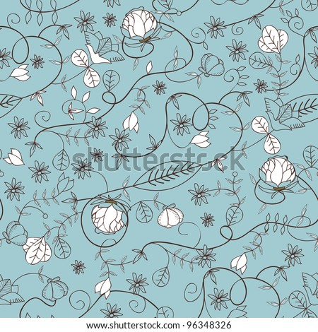 Seamless vector floral texture with drawing small flowers - stock vector