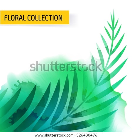 Seamless vector floral tropical pattern background with watercolor splash and jungle leaves. Abstract stripped geometric texture - stock vector