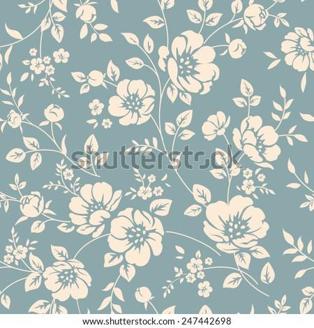 Seamless Vector Floral Wallpaper Decorative Vintage 247442698