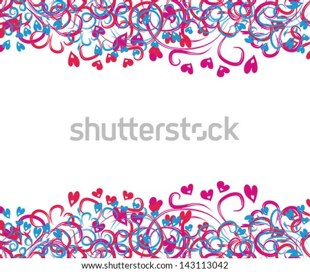 seamless vector frame with colorful hearts and curling branches