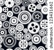 Seamless vector gear and cogwheel background - stock vector