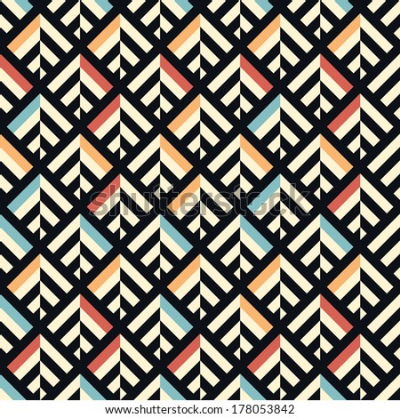 Seamless vector geometric color pattern background - stock vector